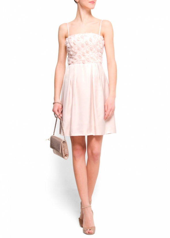 Mango XS sukienka rozkloszowana pudrowy róż gorset