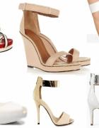 Sandałki szpilki koturn 37 białe ecru beż złoto...