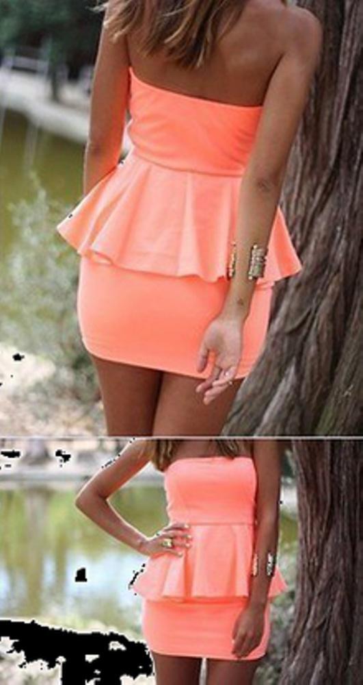 Suknie i sukienki sukienka neon brzoskwinia DODA