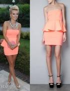 Neonowa sukienka z baskinką ZARA