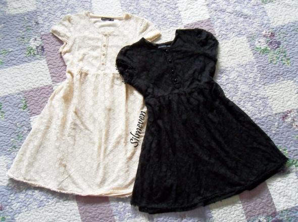 Dwie koronkowe sukienki atmosphere ecru czarna...