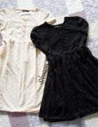 Dwie koronkowe sukienki atmosphere ecru czarna