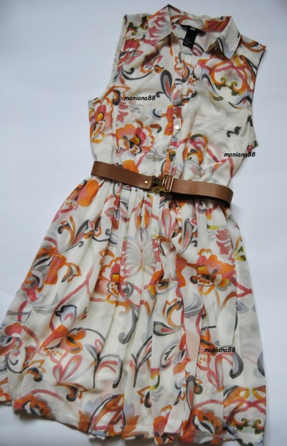 3919f0adf1 Sukienka W Kwiaty Z Kołnierzykiem HM jak NOWA 36 w Suknie i sukienki ...