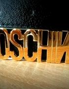 NOWY czarny pasek napis MOSCHINO złota klamra