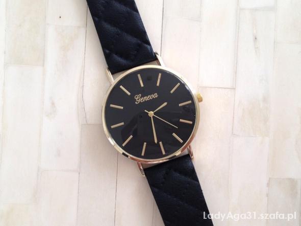 zegarek geneva pasek pikowany czarny