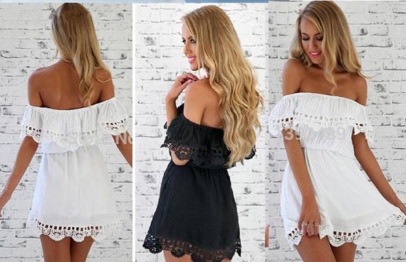 9ffc1596168d8a Suknie i sukienki Sukienka Letnia Koronkowa Odkryte Ramiona S M L XL