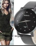 Zegarek WoMaGE czarny pasek cyrkonie