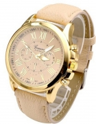skórzany pasek damski zegarek złoty geneva