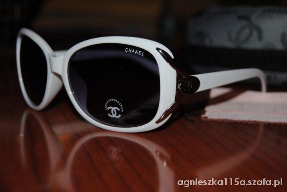 Białe okulary przeciwsłoneczne chanel