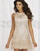 lipsy vip sukienka z piórami