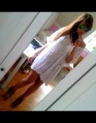 Biała włoska tunika sukienka boho koronka