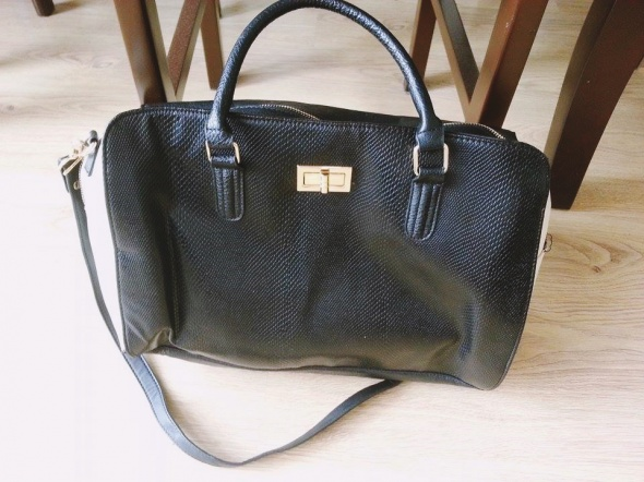 torba House czarno biała skóra teczka shopper bag w Torebki