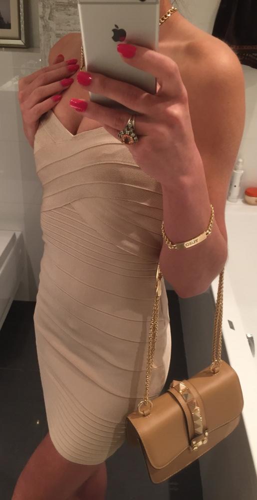 Eleganckie Beżowa sukienka
