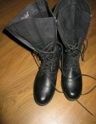 wysokie wiązane workery worker boots jesień czarne