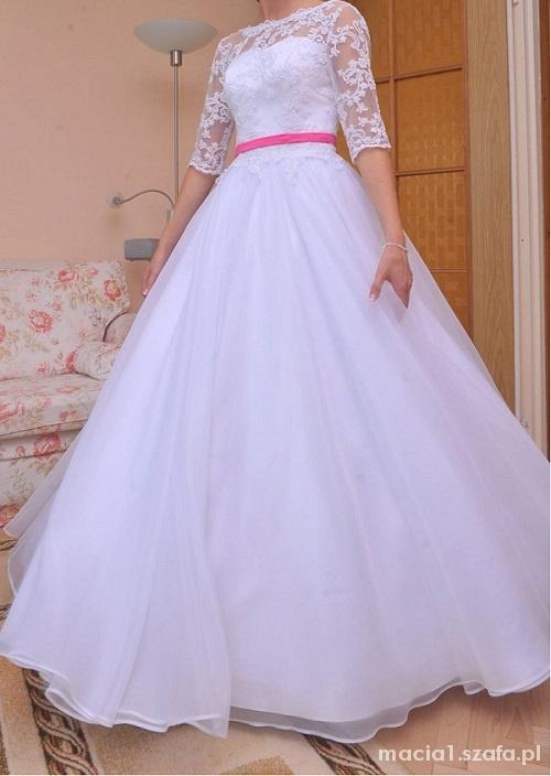 Suknia ślubna R 34 Koronka Dekolt V Na Plecach W Suknie ślubne
