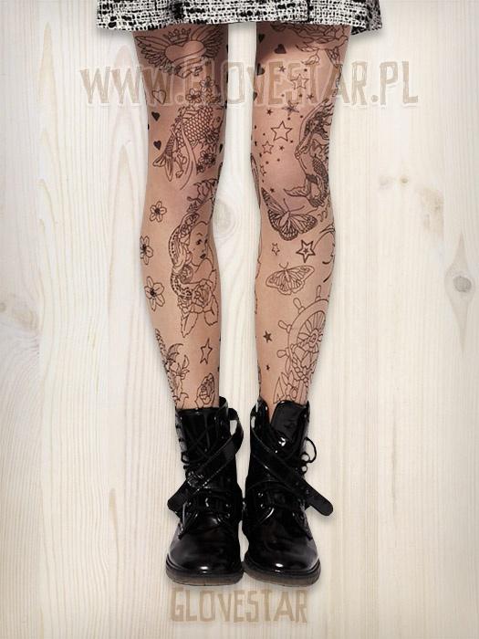 rajstopy tatuaż tattoo tights
