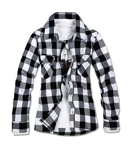 koszula w kratę czarno białą