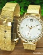 Złoty zegarek damski z cyrkoniami na pasku