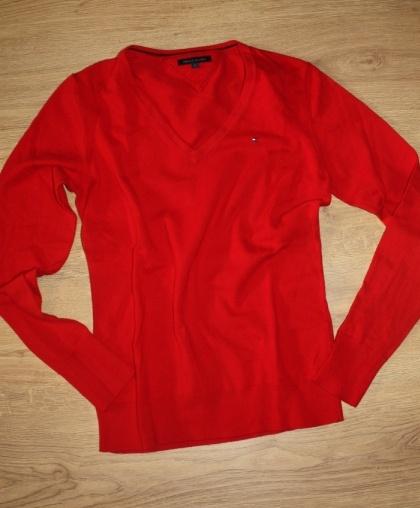 Sweter W Serek Tommy Hilfiger Czerwony Damski M W Swetry Szafapl