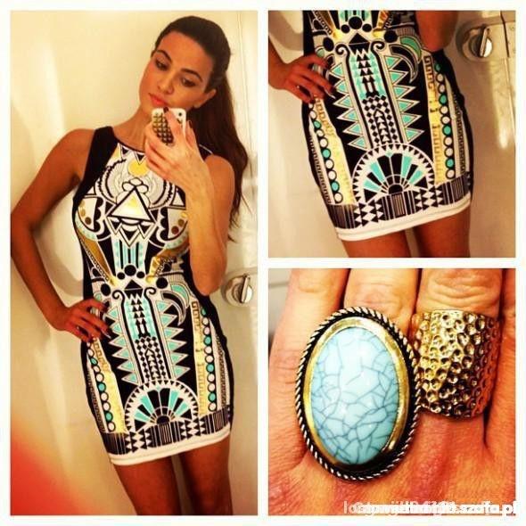 Ubrania sukienka river island aztec