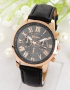Zegarek czarny skórzany