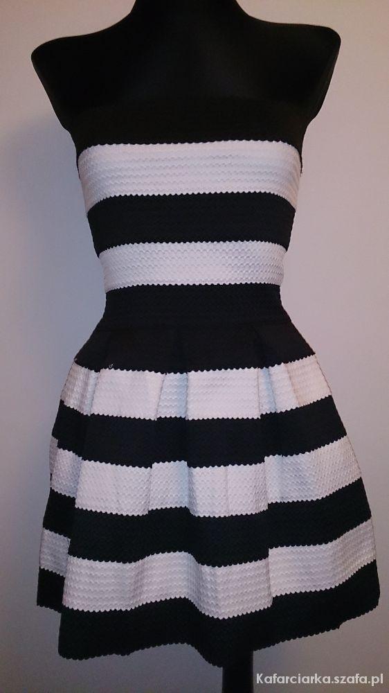 Sukienka Spódniczka Czarno Biała W Paski Pasy