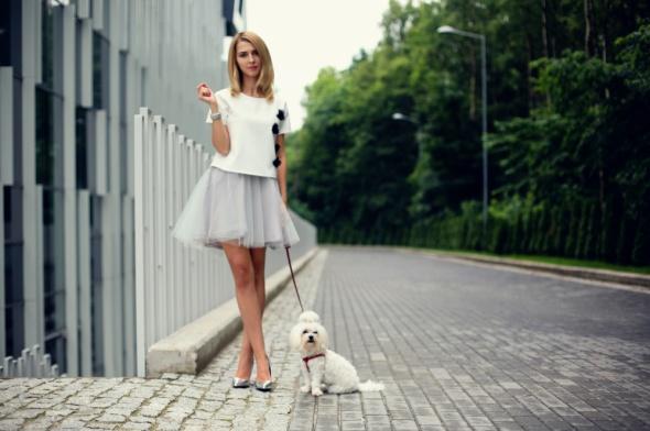 Eleganckie Spódnica tiulowa z krótką bluzką