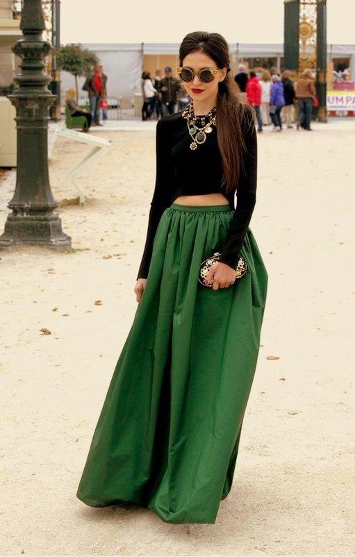 Eleganckie Spódnica Maxi zielona