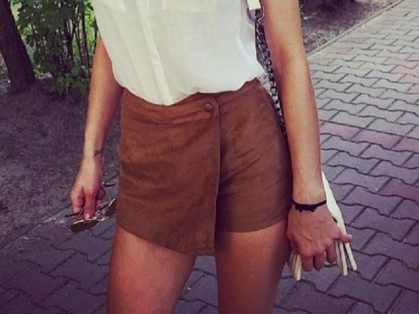 Ubrania Spodenki zamszowe bershka Spódnico spodnie