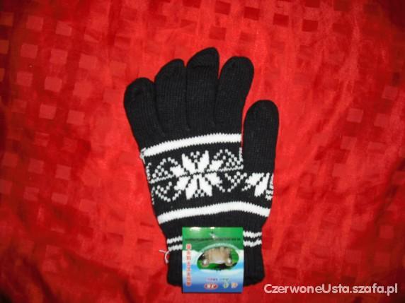 zimowe rekawiczki ze wzorem norweskim