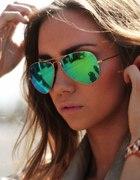 okulary rayban aviator zielone lustrzanki mirror