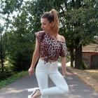 white pants & leopard