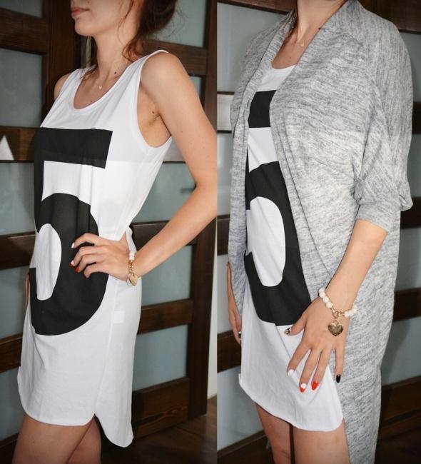 Mój styl Sukienka 5 i długi kardigan