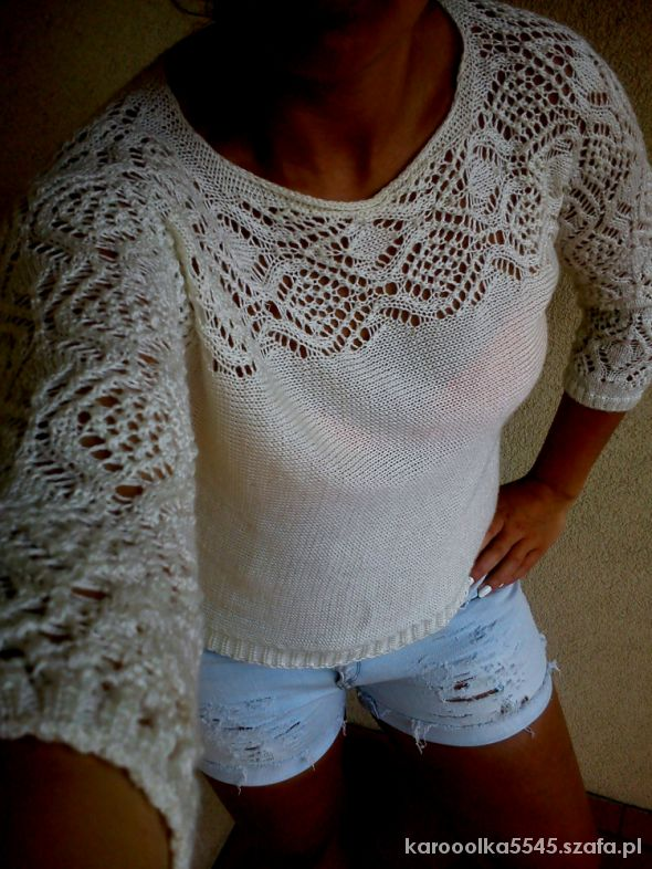 kremowy sweterek ażurkowa góra