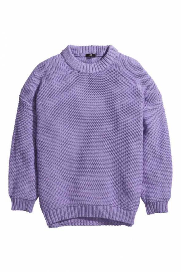 Lawendowy gruby sweter