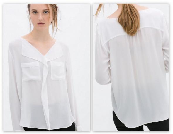 Biała koszula bluzka zara lejąca mgiełka 36 S w Koszule