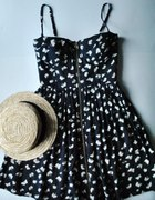 Granatowa gorsetowa sukienka zip w motylki S orsay