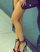 sandały szpilki czarne z paskiem...