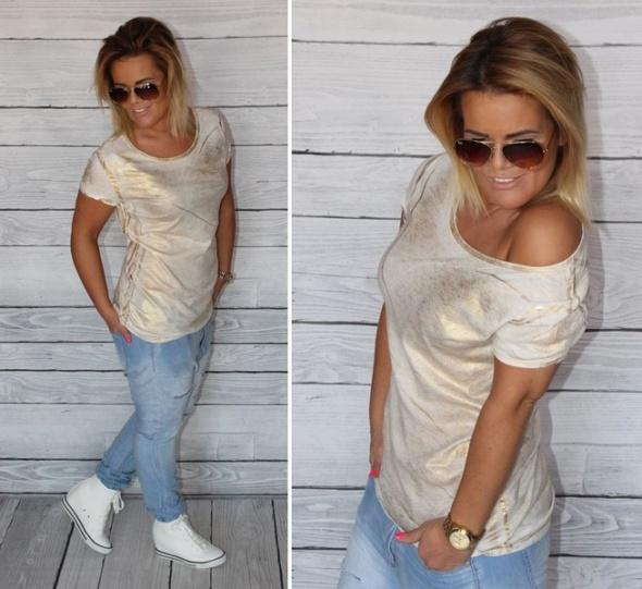 Gold bluzka złota biała xs s