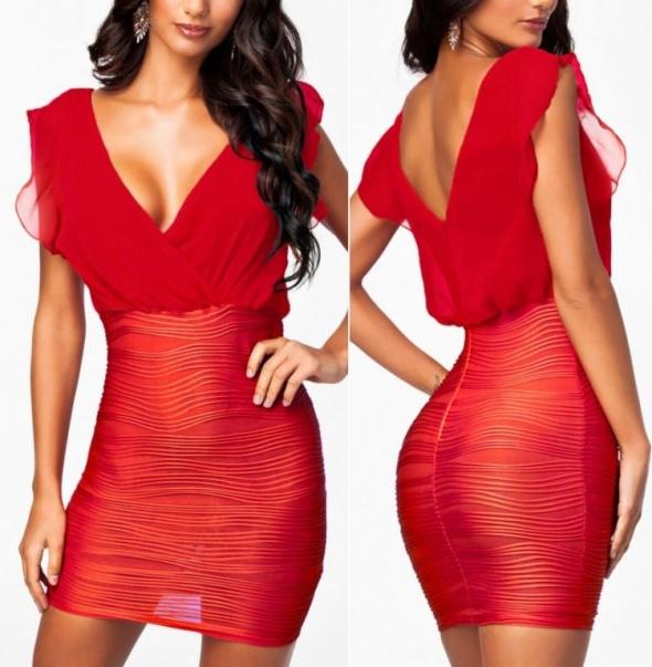 eee6e659 Nowa elegancka sukienka czerwona sylwester w Suknie i sukienki ...