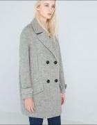 Płaszcz bershka szary oversize luźny wełna