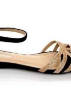 czarno złote płaskie sandały a la zara