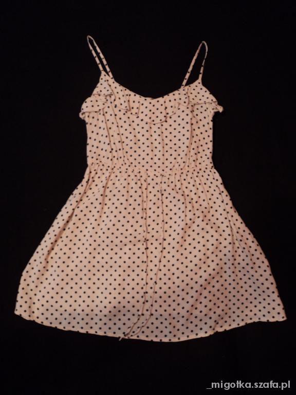 H&M sukienka kropki 36 grochy kropki nude róż blog