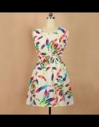 Rozkloszowana sukienka w kolorowe piórka Sheinside