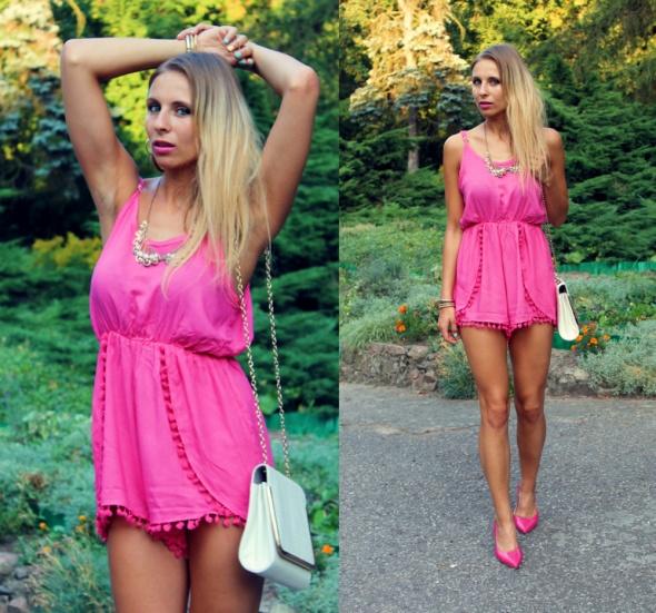 Blogerek Różowy kombinezon