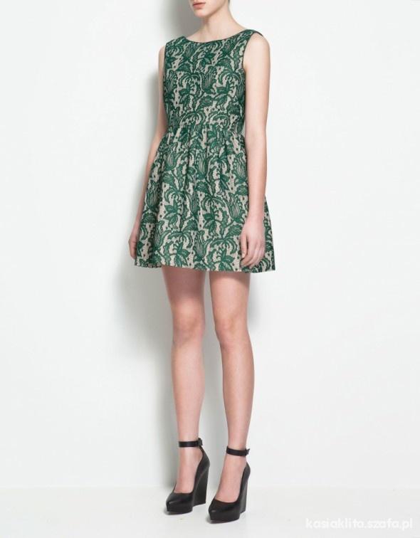 sukienka ZARA zielona koronka