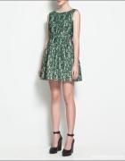 sukienka ZARA zielona koronka...