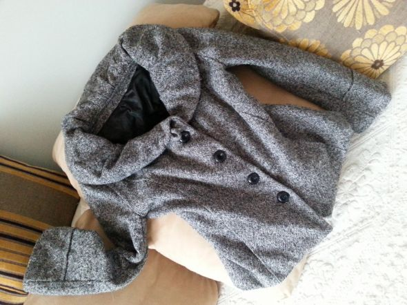 Płaszczyk damskie XL szary tweedowy krótki