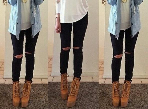czarne jeansy dziury