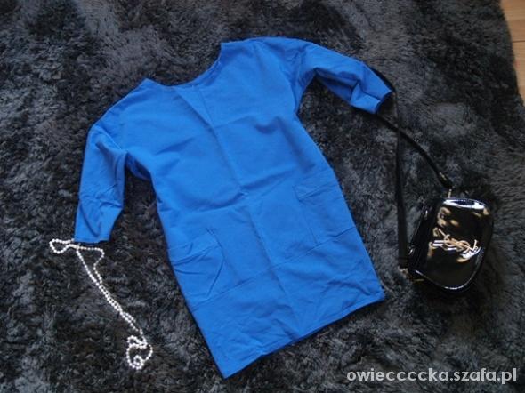 buza sukienka kieszonka M S chabrowa niebieska 36